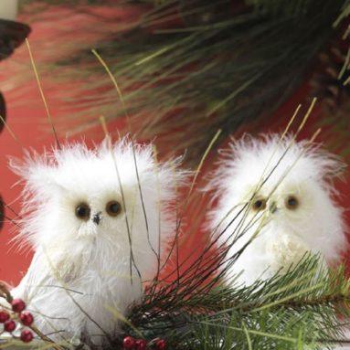 Feather White Christmas Snow Owl Figurines