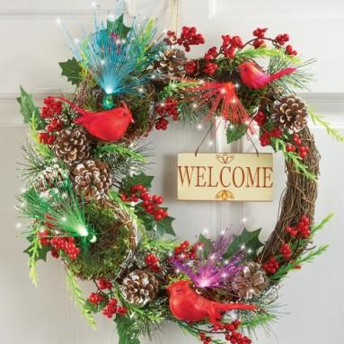 Fiber Optic Cardinal Berry Welcome Wreath