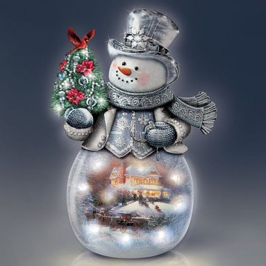 Frosted Glass Snowman Sculpture Lights Up