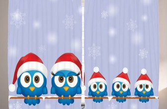Funny Bird Family with Santa Hats Christmas Decorations Curtains