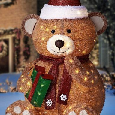 Fuzzy Christmas Teddy Bear Yard Ornament Figurine Decor