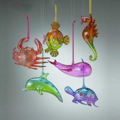 Glass aquatic sea ornaments