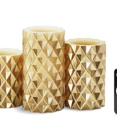 Geometric Flameless Pillar Candles