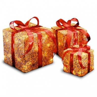 Gold Sisal Gift Boxes with Clear Lights