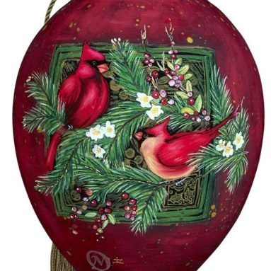 Hand Painted Blown Glass Standard Princess Shaped Cardinals Ornament