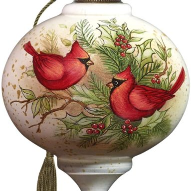 Hand Painted Blown Glass Woodland Cardinals Ornament