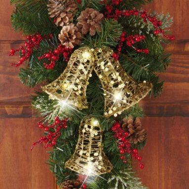 Holiday Bells Evergreen Swag Door Decor