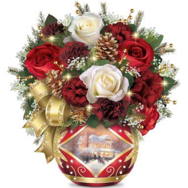 Holiday Cheer Always in Bloom Illuminated Floral Arrangement