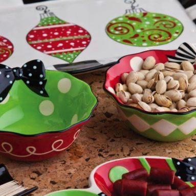 Holiday Ceramic Bowl with Ribbon