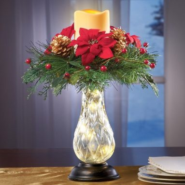 Holiday Poinsettia And Berry Candle Centerpiece