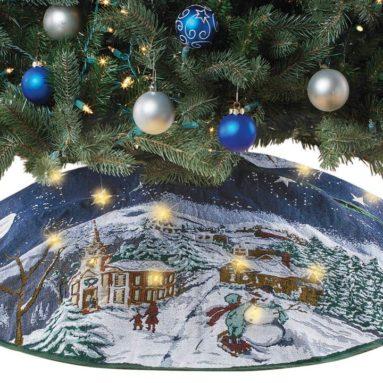 Holiday Winter Scene Lighted LED Tapestry Tree Skirt