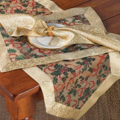 Holly Ribbon Holiday Christmas Sheer Table Runner