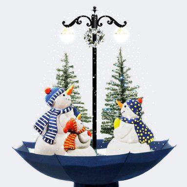 Indoor Snowing Snowman Christmas Tree Tabletop Lamp