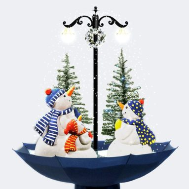 Indoor Snowing Snowman Christmas Tree Tabletop Lamp