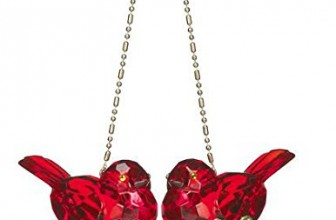 Kissing Kyrstal Ball Ornament, Double Cardinal Bird Mistletoe