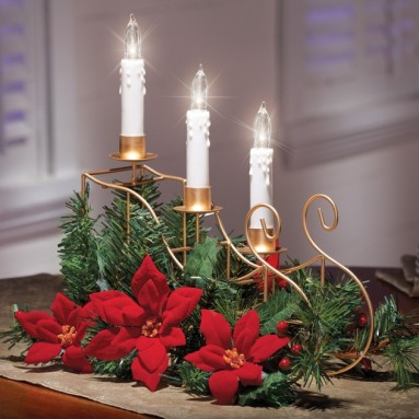 LED Candle Sleigh Poinsettia Centerpiece
