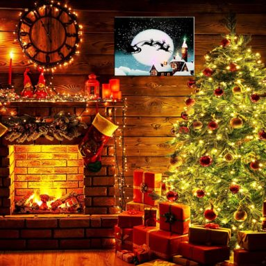 LED Christmas Canvas Painting Art Print Wall Decoration