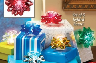 LED Fiber Optic Gift Bows – Set of 6