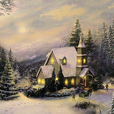 LED Holiday Christmas Canvas Church Print