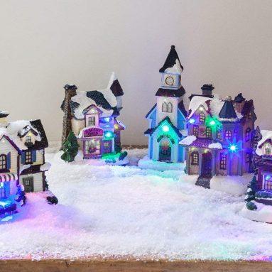 LED Light Up Christmas Village Scene