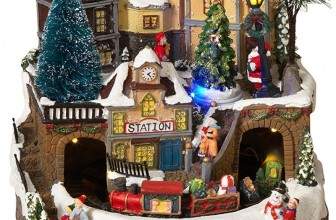 LED Lighted Fiber Optic Animated Snowy Christmas Village Scene with Train