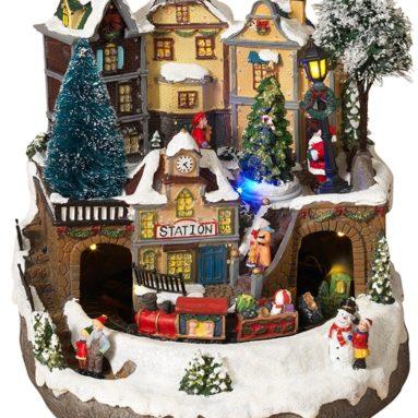 LED Lighted Fiber Optic Animated Snowy Christmas Village Scene with Train