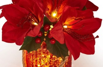 LED Pre-Lit Red Artificial Amaryllis Arrangement in Red