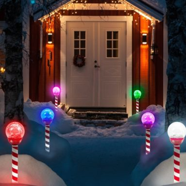 LED Solar Pathway Lights Christmas Crackle Color