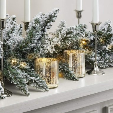 LampLust Pre-lit Flocked Pine Garland with Warm White LEDs