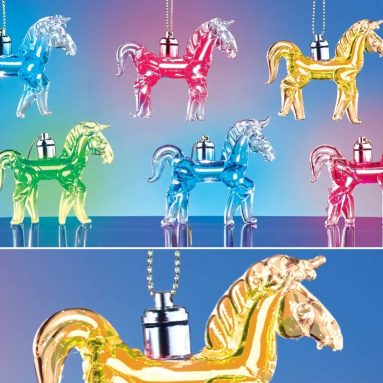 Light Up Glass Horse Ornaments