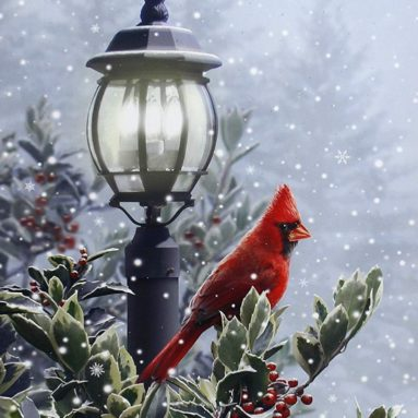 Light-Up Snow & Lamp Post Cardinal Winter Holiday Canvas Wall Art