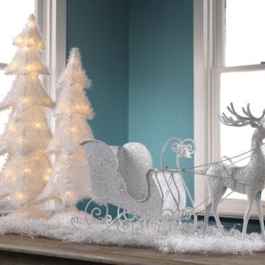 Light-Up White Christmas Trees
