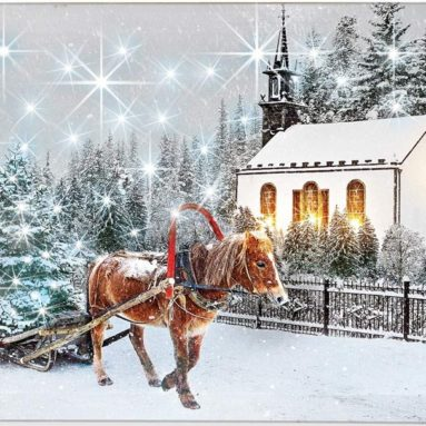 Light Up Winter Horse Canvas Wall Art
