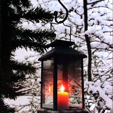 Light Up Winter Scene with Glowing Black Lantern