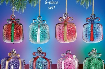 Lighted Glass Gift Box Christmas Ornaments Set- Color Changing LED