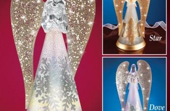 Lighted Glittery Snowflake Angel Figurine Snowflake