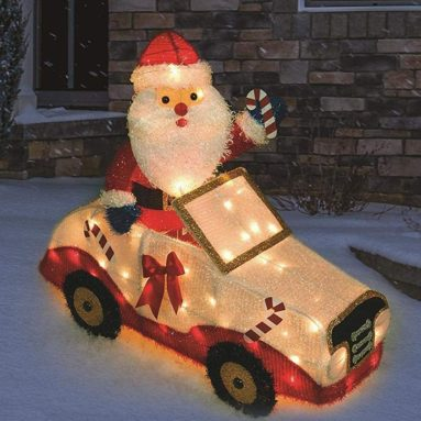 Lighted Santa in Car Sculpture Outdoor Christmas