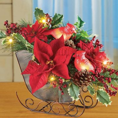 Lighted Sleigh Elegant Christmas Centerpiece Decoration