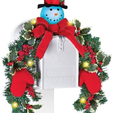 Lighted Snowman Mailbox Evergreen Swag
