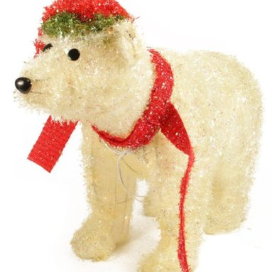 Lighted Sparkling Tinsel Polar Bear Christmas Yard Art Decoration