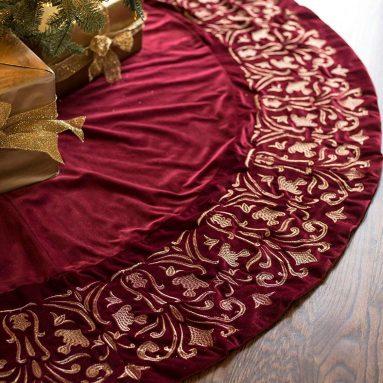Luxe Embroidered Velvet Tree Skirt