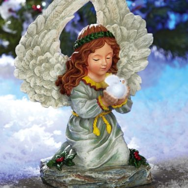 Solar Christmas Angel Outdoor Garden Statue