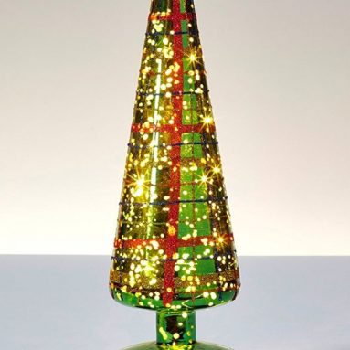 Mercury metallic green glass tree