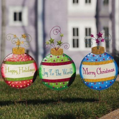 Merry Christmas Ornament Garden Stake Set