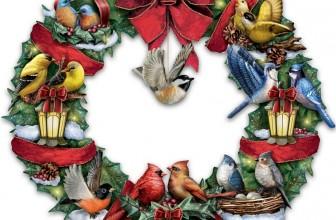 Lighted Songbird Wreath Plays Medley of 8 Christmas Carols