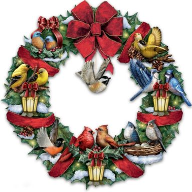 Lighted Songbird Wreath Plays Medley of 8 Christmas Carols