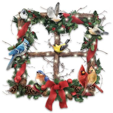 Merry Woodland Melodies Lighted Songbird Holiday Wreath Plays Bird Sounds