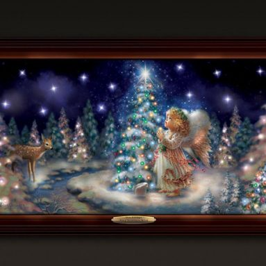 My Christmas Wish Illuminated Canvas Print Wall Decor Featuring Angel