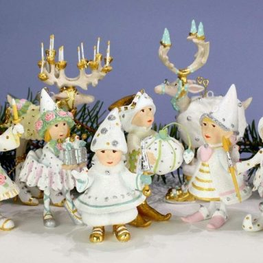 Patience Brewster Dash Away Moonbeam Mini Elves Set of 8 Ornament