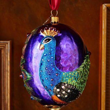Peacock Oval Christmas Ornament